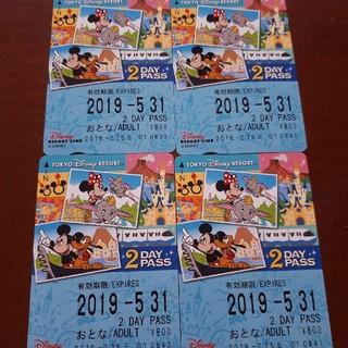 ディズニー(Disney)のディズニーリゾートライン 2dayパスポート4枚(鉄道乗車券)