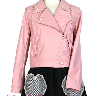 アンジェリックプリティー(Angelic Pretty)のDoll's Ribbonライダースジャケット  全店完売  ピンク色  新品(ライダースジャケット)