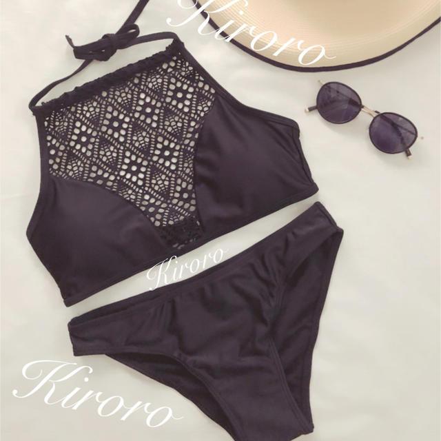 ハイネックビキニ 水着 ブラ パンツ セット 黒の通販 by Kiroro's shop|ラクマ