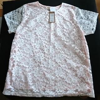 シマムラ(しまむら)のピンクにレースのトップス(カットソー(半袖/袖なし))