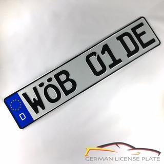 フォルクスワーゲン(Volkswagen)の★新品★ 「WOB 01 DE」 1枚セット 本物ドイツユーロナンバープレート(車外アクセサリ)