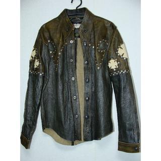 クロムハーツ(Chrome Hearts)のSKKINスキン牛皮革FXレザーフレアースタッズシャツジャケット袖スティングレー(レザージャケット)