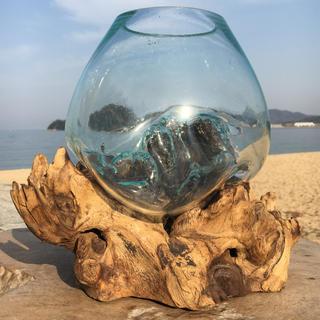 流木ガラス オブジェ大A バリ島 花瓶 金魚鉢 ガーデニング テラリウム アート(彫刻/オブジェ)