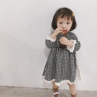 韓国子供服 ギンガムチェック×コットンワンピース(ワンピース)
