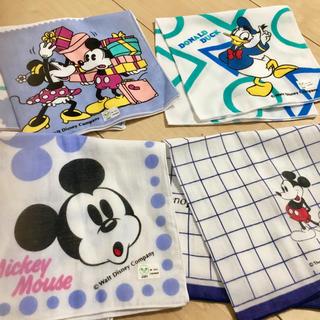 ディズニー(Disney)の綿100% ディズニー ハンカチ4枚セット✴︎(ハンカチ/ポケットチーフ)