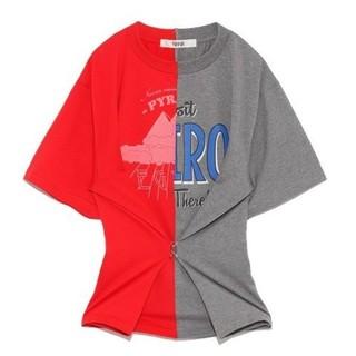 ファーファー(fur fur)のFURFUR リメイクバイカラープリントT 新品未使用 SNIDEL emmi(Tシャツ(半袖/袖なし))