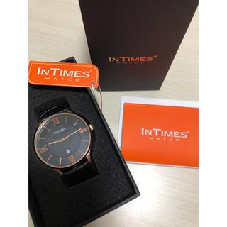 タイメックス(TIMEX)のINTIMES メンズ腕時計 ブラック×ゴールド(腕時計(アナログ))