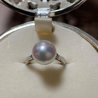【美品】9mmUP あこや真珠 ダイヤモンド Pt900 リング(リング(指輪))