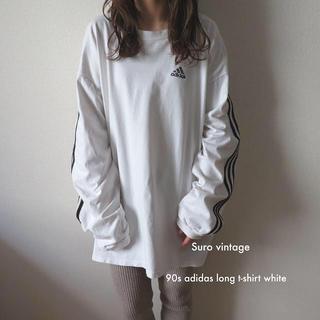 アディダス(adidas)の90s adidas 刺繍 ライン ロンT tシャツ 白 黒 古着 レディース (Tシャツ(長袖/七分))