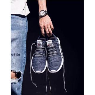 スニーカー男女兼用 フィットネスシューズ 靴 ジョギング ネイビー25.5cm(スニーカー)