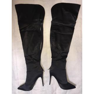 【売約済】サイハイブーツ 黒・大きいサイズ(靴/ブーツ)