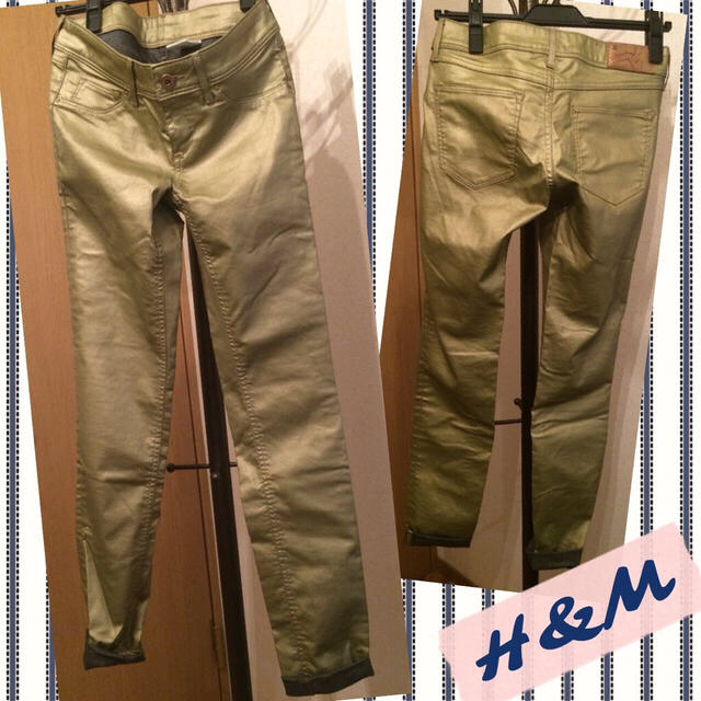 H&M(エイチアンドエム)のH&M✴︎カーキゴールド裏デニムスキニー レディースのパンツ(デニム/ジーンズ)の商品写真