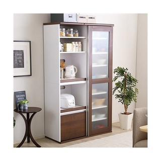 ガラス引き戸ハイタイプ食器棚(キッチン収納)