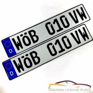 フォルクスワーゲン(Volkswagen)の★新品★ 「WOB 010 VW」 2枚セット 本物ドイツユーロナンバープレート(車外アクセサリ)