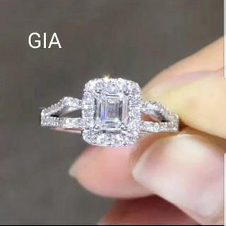 GIA♡オーダーメイドエメラルドカットダイヤモンドリング(リング(指輪))