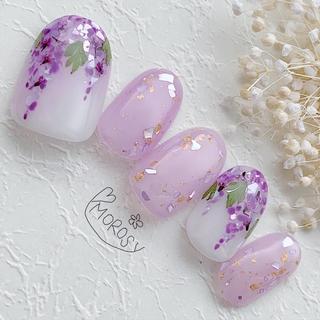 MOROSY141☆藤の花 春 和装 和柄 和 シェル 花  紫 ネイルチップ