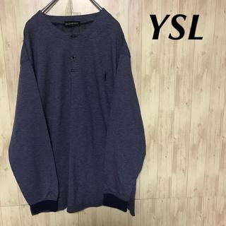 サンローラン(Saint Laurent)の美品 Yves Saint Laurent ヘンリーネック ロンT 刺繍ロゴ (Tシャツ/カットソー(七分/長袖))