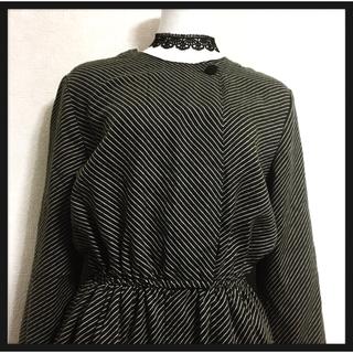 ロキエ(Lochie)の[昭和レトロ]ワンピース アンティーク ドレス 黒系 縦縞模様 長袖 隠しボタン(その他)
