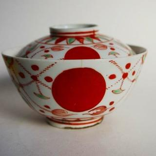 明治 伊万里 赤玉瓔珞文 蓋付き茶碗(陶芸)