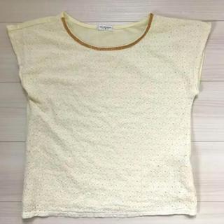 Tシャツ カットソー  花レース模様 レモンイエロー(Tシャツ(半袖/袖なし))