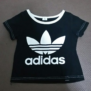 アディダス(adidas)のベビー服★adidas風Tシャツ ブラック×ホワイト(Tシャツ)