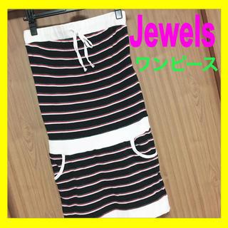 ジュエルズシーク(JewelsSeek)のJewels (ジュエルズ) ボーダー ベアワンピース ブラック 黒 ホワイト(ひざ丈ワンピース)