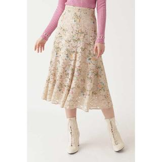 ジルスチュアート(JILLSTUART)のJILLSTUART ジル カメル刺繍レーススカート 波瑠ドラマ着用(ロングスカート)
