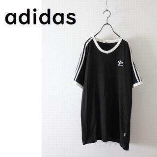 アディダス(adidas)のアディダス ライン入り Tシャツ 黒(Tシャツ/カットソー(半袖/袖なし))