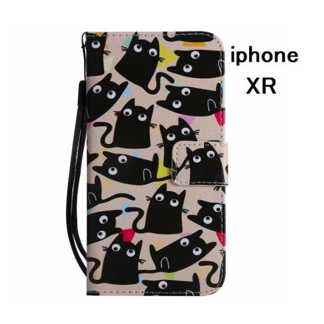 iphone手帳カバー 、 アイフォン XR 大量黒猫 手帳型ケース  の通販 by らん|ラクマ
