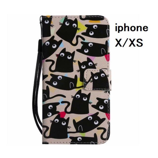 coach iphone7 ケース 革製 | アイフォン X/ アイフォン XS 大量黒猫 手帳型ケースの通販 by らん|ラクマ