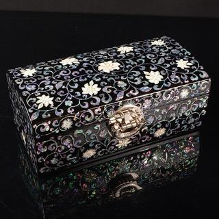 韓国 漆塗 螺鈿花卉文 化粧箱 宝石箱 印材箱 証書付 R885(漆芸)