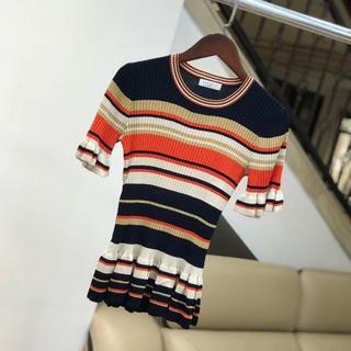 サンドロ(Sandro)のsandroコットンシャツ☆Striped frilled cotton-ble(Tシャツ(半袖/袖なし))