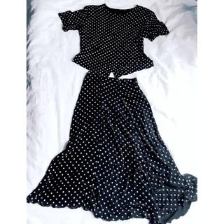 ヴィヴィアンウエストウッド(Vivienne Westwood)の値下げ🇰🇷韓国製・昭和レトロ黒白い水玉スーツ・Lolita・ロリータかわい(スーツ)