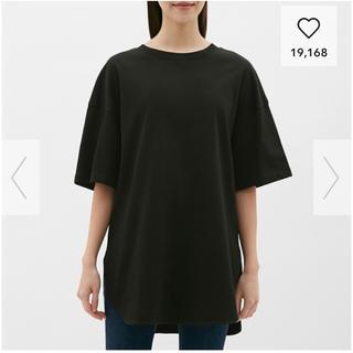 ジーユー(GU)のkoko様専用♡ヘビーウェイトオーバーサイズT(5分袖) 黒 ブラック 今期(Tシャツ(長袖/七分))
