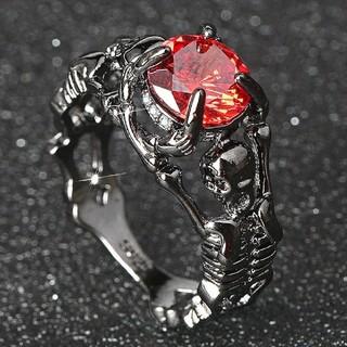 特価!ゴシックデザインのブラックステンレスリング 8、9号相当(リング(指輪))