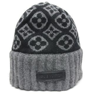 ルイヴィトン(LOUIS VUITTON)のルイヴィトン カシミア モノグラム ニット帽 帽子 黒 グレー(ニット帽/ビーニー)