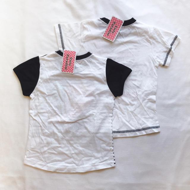 しまむら(シマムラ)の【2点セット】新品タグ 110 ボーダー モノトーン 半袖 Tシャツ 白黒 キッズ/ベビー/マタニティのキッズ服 女の子用(90cm~)(Tシャツ/カットソー)の商品写真