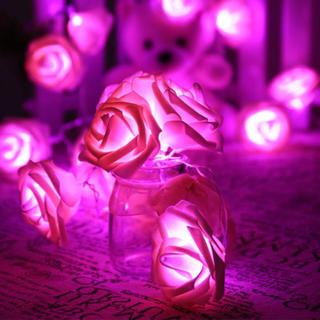 小ぶりな花束*ローズフラワー バラのLEDライト ルームランプ ピンク(フロアスタンド)
