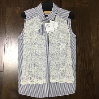 デンドロビウム(DENDROBIUM)のホワイト×ネイビー  ブラウス38(シャツ/ブラウス(半袖/袖なし))