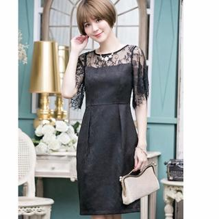 ザラ(ZARA)の☆新品 ブラック フォーマル ドレス Mサイズ 結婚式 (ミディアムドレス)