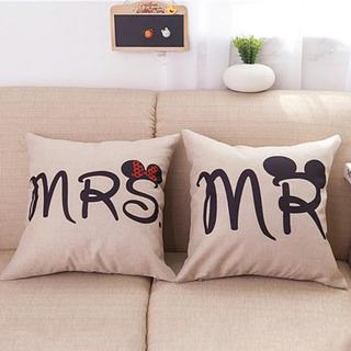 ディズニー(Disney)のMR MRS ディズニー クッションカバー ミッキーミニー2つセット(クッションカバー)