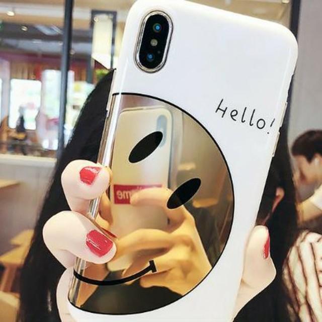 iphone 7 ケース おしゃれ  シンプル | ♡かわいい♡ミラースマイリーiPhoneケースの通販 by すなふきん's shop|ラクマ