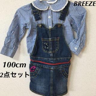 ブリーズ(BREEZE)のオーバーオール ジャンパースカート デニム ブラウス 100 刺繍 サロペット(スカート)