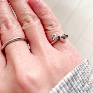ブルーサファイア リボン シルバー925  ピンキーリング(リング(指輪))