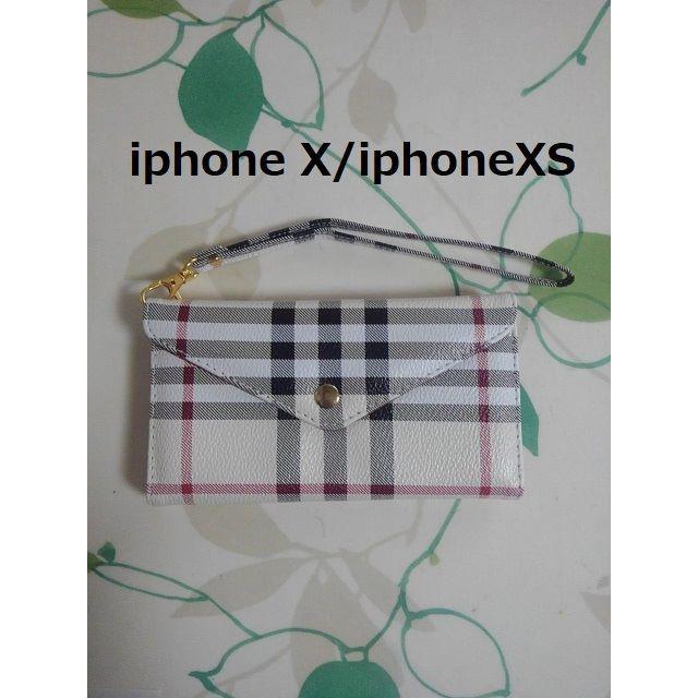 アイフォンX/アイフォンXS 高級 チェック 白 ②の通販 by らん|ラクマ