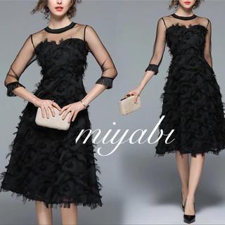 ザラ(ZARA)のフェザーワンピース シースルー ヴィンテージ タッセル メッシュ ブラックドレス(ミディアムドレス)