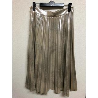 ザラ(ZARA)の【美品】ZARA ゴールドプリーツスカート(ひざ丈スカート)