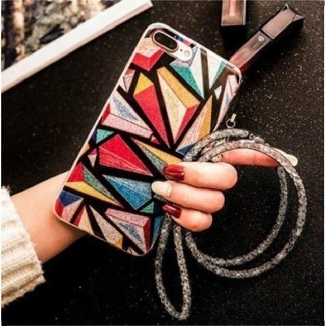 burberry iphone7 ケース 安い | レインボーiPhoneケース☆ストラップ付き アイフォンの通販 by Sweet Angel|ラクマ