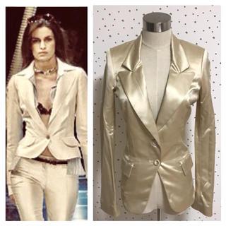 バレンシアガ(Balenciaga)の本物 バレンシアガ 2B ピークド ドレス ジャケット 34 シャンパンゴールド(テーラードジャケット)