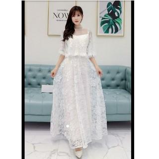 5L 新品 総レースロングワンピース 白 大きいサイズ シースルー ドレス 結婚(ロングドレス)